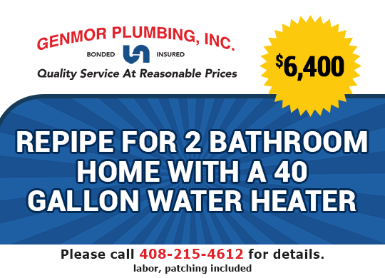 $6400 Repipe for 2 bathroom home with a 40 gallon water heater